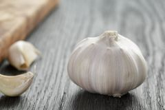 Whole garlic head on oak wood table Royalty Free Stock Images