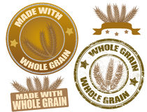 Whole Grain. Set of whole grain seals and grunge stamp,  illustration Royalty Free Stock Photography
