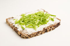 Slice of Whole Grain Bread with Cottage Cheese and Chives Royalty Free Stock Photos