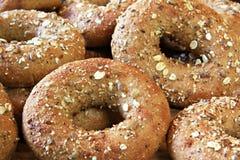 Whole grain bagels stock image