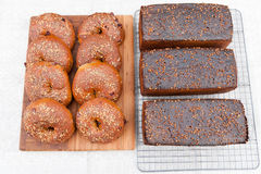 Whole grain bagels with sesame seeds and rye bread with coriande. Freshly baked the whole grain bagels with sesame seeds and rye bread with coriander seeds Royalty Free Stock Photography