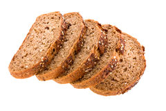 Whole grain batard. On white background Royalty Free Stock Image