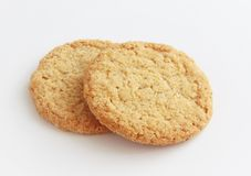 Whole grain biscuits. Whole grain biscuits on white background Stock Photography