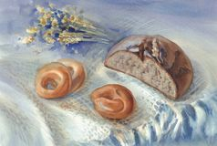 Whole grain black bread and bagels watercolor. Still-life. Home food illustration Stock Photos