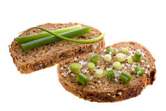 Whole grain bread. With green onion and sea salt Stock Photo