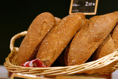 Whole grain bread. In a basket Stock Image