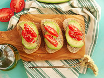Whole grain bread with avocado Stock Images