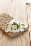 Whole grain bread with curd Stock Image