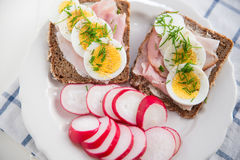 Whole Grain Bread with egg, chives Stock Image