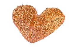 Grain bread in a heart shape Royalty Free Stock Photography