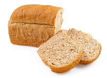 Whole grain bread loaves on a white background Royalty Free Stock Photos