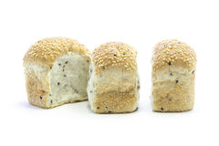 Whole grain bread row seperated in three pieces. On white background stock images