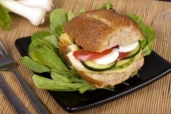 Whole-grain bread sandwich. Vegetarian whole grain bread sandwich with vegetables, cheese and egg Royalty Free Stock Photos