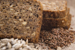 Whole grain bread. With seeds stock photography