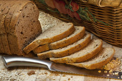 Whole Grain Bread. Slices of whole grain farmhouse bread Royalty Free Stock Photo