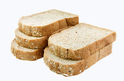 Whole grain bread slices, isolated on white Royalty Free Stock Photo