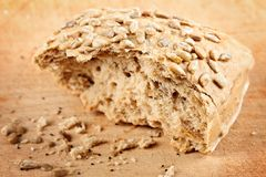 Whole grain bread with sunflower seeds Stock Image