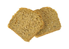 Whole Grain Bread Two Slices. Two slices of delicious whole grain bread Royalty Free Stock Photography