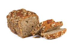 Whole grain bread on white background Royalty Free Stock Image