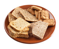 Whole grain carbohydrates. On white background royalty free stock photography