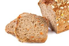 Whole grain and carrot bread on white royalty free stock photo