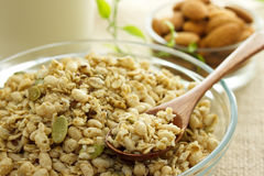 Whole grain cereal. With milk and almond Royalty Free Stock Image