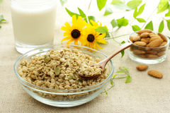 Whole Grain Cereal. With milk and almonds Royalty Free Stock Photo