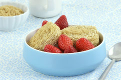 Whole grain cereal biscuits with strawberries Stock Image