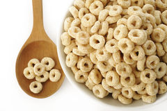 Whole grain cheerios cereal on white Stock Photography