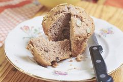 Whole-grain cinnamon and apple muffins with seeds stock photos