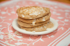 Whole Grain Coconut Pancakes stock photo