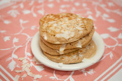 Whole Grain Coconut Pancakes royalty free stock photography