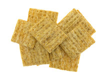 Whole grain crackers on a white background Stock Image