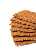 Whole grain crisp bread isolated on white Royalty Free Stock Images