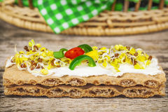 Whole grain crisp bread with sprouts Royalty Free Stock Photo