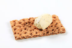 Whole grain crispbread with cream cheese mousse royalty free stock images