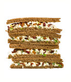 Whole grain egg salad club sandwiches Stock Image