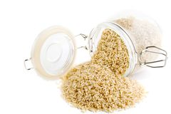 Whole Grain Instant Rice. Bulk whole grain instant cooking rice stock photo