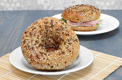 Whole grain, multi seeded bagels. Royalty Free Stock Images