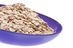 Whole Grain Oats in a Vibrant Purple Bowl Stock Photo