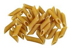 Whole grain pasta. Raw bio whole grain pasta isolated on white background. DFF image Royalty Free Stock Photos