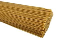 Whole grain pasta. Raw bio whole grain pasta isolated on white background. DFF image Royalty Free Stock Photography