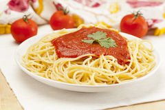 Whole Grain Pasta with tomato sauce Stock Photography