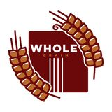 Whole grain product emblem vector illustration. Whole grain product emblem with ripe long spike and sign on rectangle isolated cartoon flat vector illustration Royalty Free Stock Image