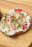 Whole grain rolls with curd and radish. And fresh cress Stock Photography