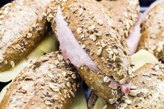 Whole grain rolls with cheese and ham Royalty Free Stock Photography