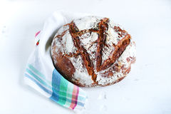 Whole-grain rye bread artisan loaf boule, nordic sourdough Stock Image