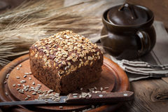 Whole Grain rye bread with seeds. Stock Photo