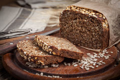 Whole Grain rye bread with seeds. Stock Photos