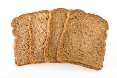 Whole grain sandwich bread slices, on white background. Whole grain sandwich bread slices, on white background Royalty Free Stock Photo